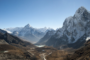Ama Dablam seen from Cho La pass in Khumbu region, Himalayas, Nepal