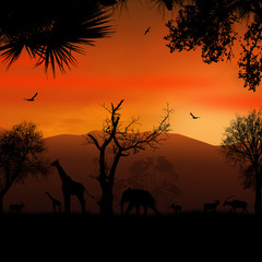 Wild african animals silhouettes
