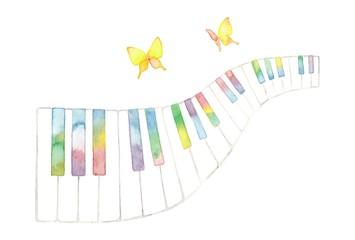 虹色パステル調鍵盤とチョウチョ