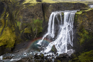 Fagrifoss waterfall on the slopes of Laki crater, Lakagigar, highlands region, Iceland, Polar Regions