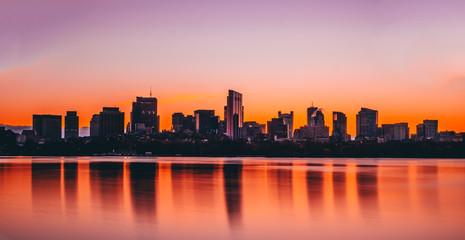 Boston at sunrise in Boston, Massachusetts, USA.