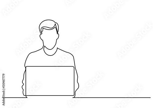 Line Drawing Man : Quot continuous line drawing of man sitting behind laptop