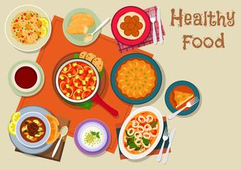 Spanish and jewish cuisine healthy food icon