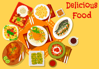 World cuisine popular lunch dishes icon