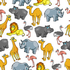 African jungle and safari animals cartoon pattern