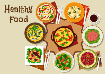 Salad dishes and healthy snack food icon