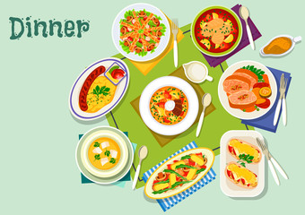 Meat, fish dishes for lunch icon for food design