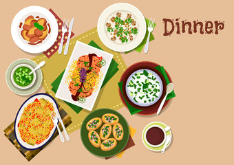 Festive dinner dishes icon for healthy menu design