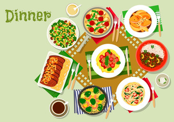 Dinner dishes icon with pasta, salad and meat