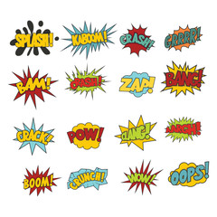 Comic sound effect boobles set  isolated on white background
