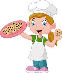 Cartoon little girl holding cake