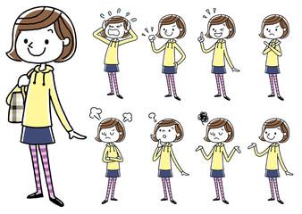 女の子:セット、バリエーション