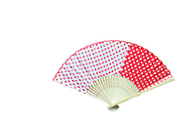 Chinese red fan on white background.