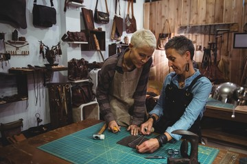 Craftswomen discussing over a piece of leather
