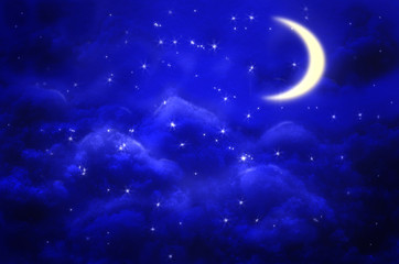 Aluminium Prints Night Night sky background with half moon, clouds and stars.