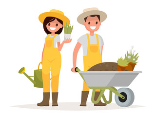 A couple of gardeners. Man with wheelbarrow of earth, a woman ho
