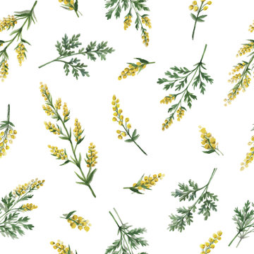 Watercolor vector seamless pattern with wormwood flowers and branches.