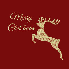 Knitted  deer red christmas card eps 10 vector