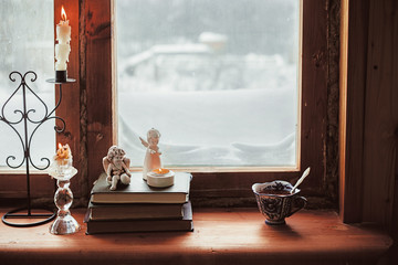 Homely wnter concept of window sill