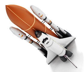 Rocket carrying space shuttle launches off. 3D illustration