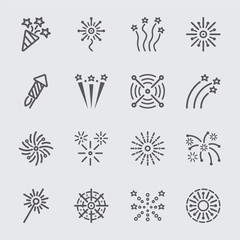 Firework line icon