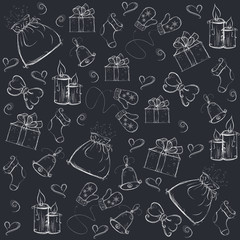Christmas background, painted with festive elements, vector illu