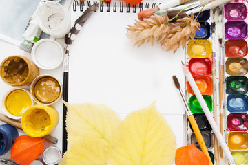 Art Drawing Painting Dye Color Mockup Workshop Artist Creativity Craft Autumn Inspiration Mess Hobby Concept