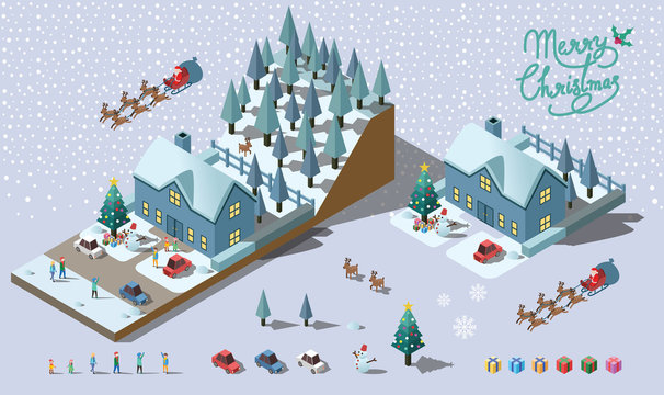 Merry Christmas vector design include house, people and car. Iso
