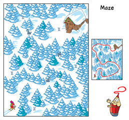 Find your way to the house. Beware of wolves! Educational maze game for children. Cartoon vector illustration