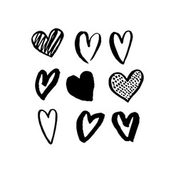 Vector heart icons hand drawn art design for Valentine day