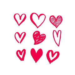 Valentine Day hearts sketch icons pattern vector art