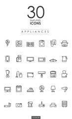 30 SIMPLIFIED APPLIANCES ICONS design
