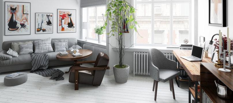 Wohnzimmer mit Einrichtung (panoramisch)