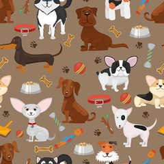 Cute funny dogs seamless pattern vector illustration