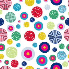 Wall Mural - Polka dots kids seamless pattern with doodle texture