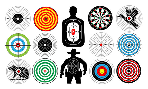 Big set of targets isolated animals people cowboy man. Targets for shooting. Archery.  Darts board. vector