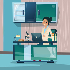 Doctor Woman Office Clinic Interior Workplace Hospital Medicine Care Flat Vector Illustration