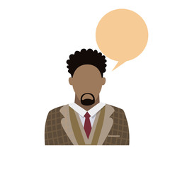 Profile Icon African American Male Avatar Man Beard Portrait Casual Person Silhouette Face Chat Bubble Flat Vector Illustration