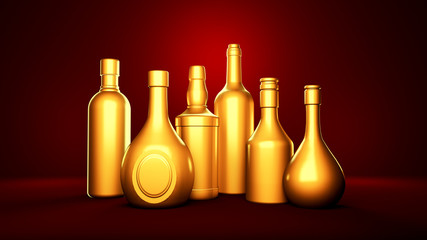 Golden bottle of elite alcoholic drinks on a red background