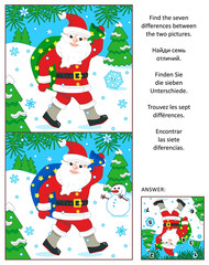 New Year or Christmas visual puzzle: Find the seven differences between the two pictures of Santa delivering sack full of gifts and presents. Answer included.