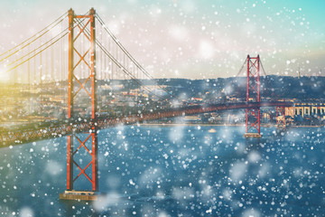 first snow.Lisbon at winter, Portugal. Travel background