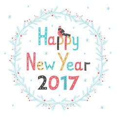 Hand drawn lettering poster Happy New Year 2017. Greeting card. Vector illustration   .