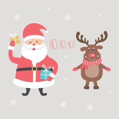 The Santa Claus with gifts and the reindeer. Vector illustration
