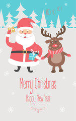 Christmas and New Year Card with Santa Claus and the reindeer. Vector illustration   .