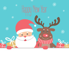 Happy New Year Card with Santa Claus and the reindeer. Vector illustration   .