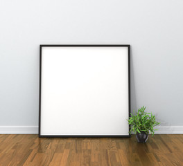empty mockup poster in the interior. 3d illustration