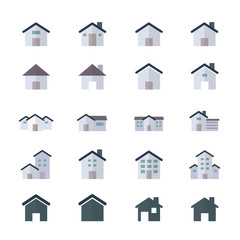 House Icons and Home Icons Set Of Building Icons Style Colorful Flat Icons
