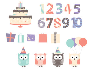 Birthday elements: owls, balloons, birthday cake / vectors collection for children