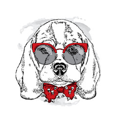 Dog with glasses and tie. Vector illustration. Cute puppy.