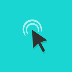 Mouse arrow click action vector icon, black color cursor clicking symbol with shadow, pointer arrow isolated on blue background